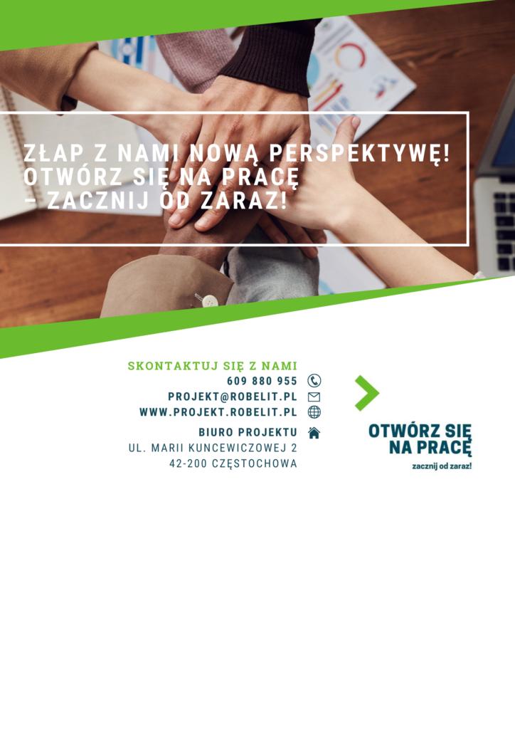 plakat z logo i kontaktem